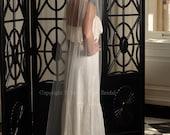 Bridal Veil - Chapel Length Veil with Raw Cut Edge - White, Diamond White, Ivory, Blush or Champagne