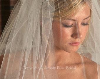 Bridal Blusher, WHITE Wedding Veil - Raw Edge Veil - READY to SHIP