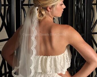 Wedding Veil - Alencon Lace Veil, Lace Trim - LIGHT IVORY Elbow Bridal Veil - Ready to Ship