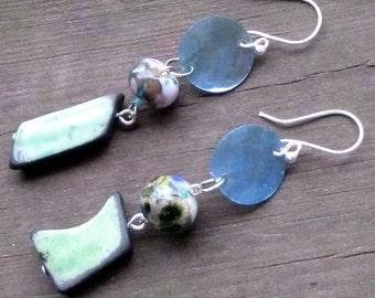 Lime Green Asymmetric Earrings - Handmade Clay Beads, Colorful Lampwork Glass Beads, Shell Discs, Dangle Earrings