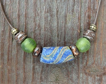 Blue Swirl Necklace - Blue Krobo Bead, Green Recycled Glass Beads, Handmade Ceramic Beads, Brown Leather Necklace