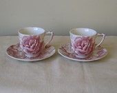 Pair Vintage Johnson Brothers Demitasse Cup and Saucer, English Chippendale Espresso, Pink Red Transferware, Cabbage and Roses China