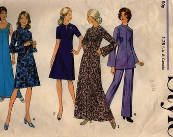 70s Mini/ Maxi Dress, Tunic & Pants Style 3885 Vintage Sewing Pattern, Size 12 1/2, Bust 35