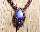 Lapis Lazuli Beaded Micro Macramé Collar Necklace