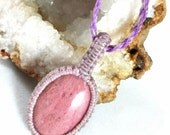 Reserved - Wrapped Rhodonite Micro Macramé Necklace