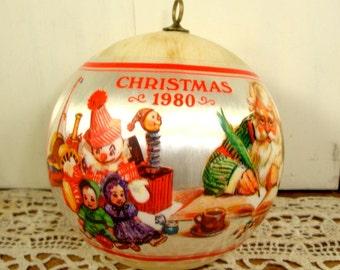 Vintage Hallmark Christmas Ornament, Santa's Workshop Tree Trimmer Collection, Satin, 1980, Boxed  (359-15)