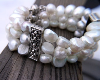 Freshwater pearl bracelet - Three row bracelet,  winter wedding, engagement gift, Freshwater bracelet, Pearl bracelet, Freshwater pearl