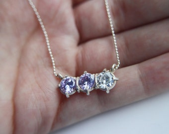 Triplets - Sterling silver necklace, Sterling silver jewelry, Handmade jewelry, Cubic Zirconia, Cubic zirconia bridal, Silver necklace