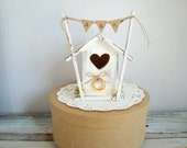 Tweetheart birdhouse cake topper--white or ivory with personalized banner for your rustic wedding theme