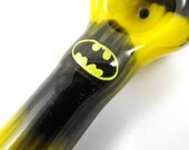 Hand Blown Glass BAT MAN Dichro Image Tobacco Pipe Pyrex Solid Black and Yellow