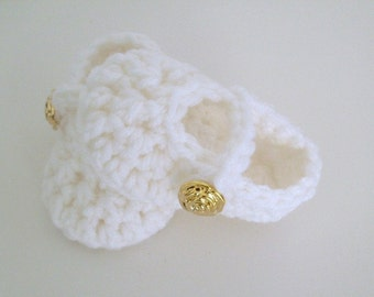 Baby Girl Shoes White Mary Jane Booties Newborn to 12 months Many Colors Available