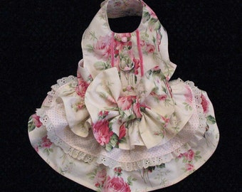 Dog Harness Dress Roses Bow Small