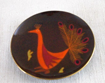 Round dish,  Enamel on Copper,  by Miguel Pineda