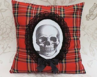 Gothic victorian anatomical skull  victorian  cameo pillow cushion red Tartan lace macabre halloween home decor