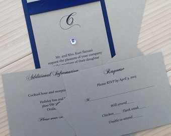 Stacked Ribbon with Gem Invitation Suite