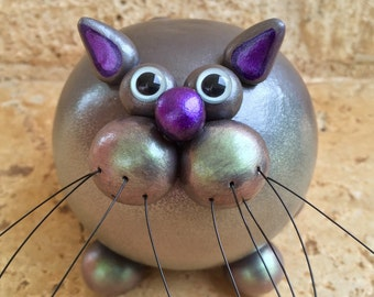 Metallic Silver Gourd Kitty Sculpture