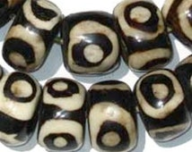 40 Eye Design Batik Bone Beads Large - African Bone Beads - Jewelry Making Supplies - Made in Kenya + (BON-RND-EYE-292)
