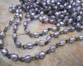 Beaded Rosary Faceted Plum 4mm Czech Glass Link Jet Chain