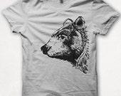 Mens Tshirt, Bear Shirt, Black Bear, Bear Tshirt, Screenprinted Shirt, Graphic Tee - Silver
