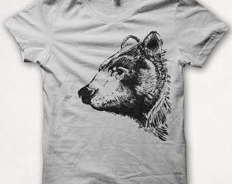 Mens Tshirt, Bear Shirt, Black Bear, Bear Tshirt, Screenprinted Shirt, Graphic Tee - White