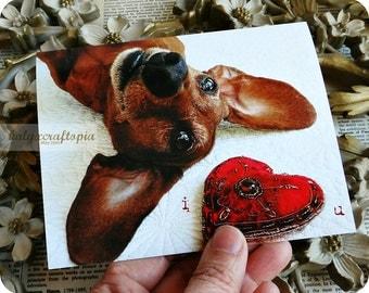 I heart U Dachshund Valentine