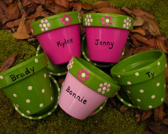 Painted Flower Pots - Succulent Planters - Herb Planters - Event Favors