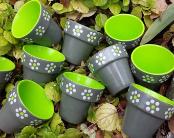 Painted Flower Pots - Gray and Lime - Set of 10