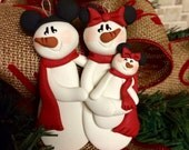 Personalized Mickey Minnie Baby Snowman Family Christmas Ornament