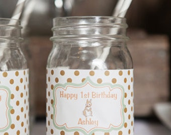 Woodland Water Bottle Labels - Forest Animals Birthday Party Decorations - Woodland Labels - Mason Jar Labels - Woodland Birthday Party (12)