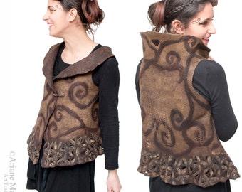 Hand made Paris Design Wearable Art Women Vest; Nuno Felt Wool Silk Vest, Unique Reversible Textile Art Garment, Convertible Bolero vest,