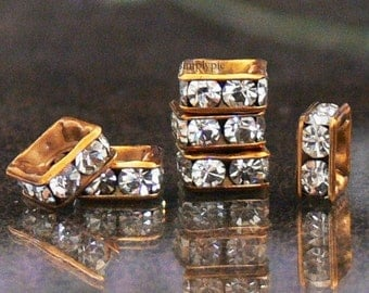 Antiqued Gold Crystal Rhinestone Squaredelle 6mm 6 Spacer Beads