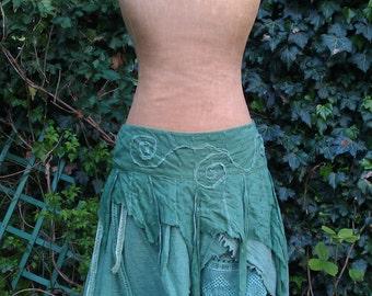 The Ivy Skirt  green tattered pixie skirt mori girl morigirl faerie skirt hand dyed woodland skirt