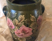Hand Painted Old Crock, Cookie Jar by MontanaRosePainter,  Deep Olive Greens, Gorgeous Salmon Colored Roses,