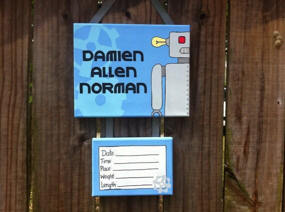 Robot baby boy hospital door sign baby hospital by for Baby boy hospital door decoration
