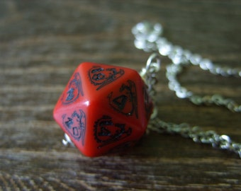 D20 dragon necklace dungeons and dragons pendant D20 dice necklace dice jewelry D20 necklace red dragon pendant
