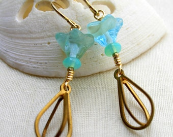 """Light Blue Czech Glass Flower Earrings with Brass Dangle """"Cages""""- Gold Filled Ear Wires"""
