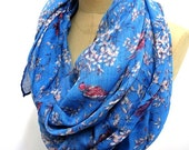 Bird Scarf Flower Shawl animal print scarf holiday Boho Geometric Gift Wrap, Spring scarf