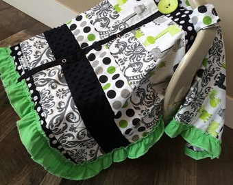 Car Seat Canopy STUNNING OOAK patchwork