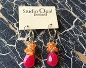 Hot Pink Chalcedony with Orange Carnelian Cluster Earrings