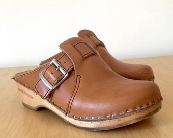 Leather Bastad Clogs Sweden Size 37