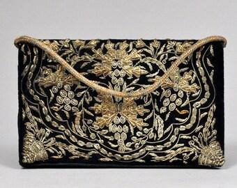 Vtg 1950's GOLD and Black Velvet Beaded Embroidered handbag
