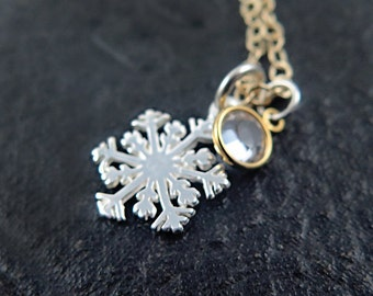 Silver Snowflake Necklace Sterling Snowflake Winter Jewelry Snow Flake Necklace Ice Skating Jewelry