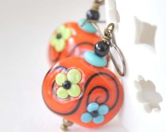 Flower Earrings, Orange Earrings, Lampwork Earrings, Glass Bead Earrings, Mother's Day Jewelry