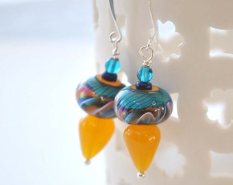 Yellow Blue Earrings, Lampwork Glass Earrings, Colorful Earrings