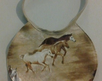 Reversible Infant Bib Horses on the Prairie 243654