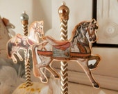 Carousel Charmers. Six Parisian Carousel Horse Cupcake Toppers with Glass Pearls