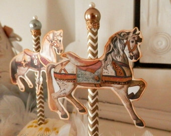 ON SALE!! Carousel Charmers. Six Parisian Carousel Horse Cupcake Toppers with Glass Pearls