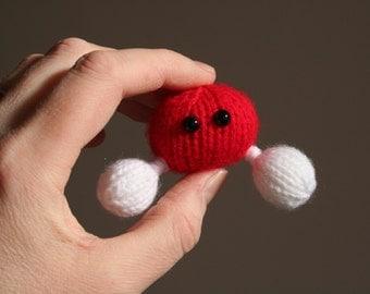 Knit your own Amigurumi Water Molecule Brooch (pdf knitting pattern)