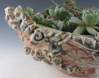 Handmade Wood fired Pottery Succulant planter with impressed lace texture and stamped texture