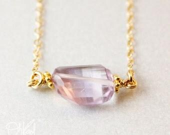 Gold Pink Amethyst Tumbler Necklace - Free Form Pendant - 14K GF